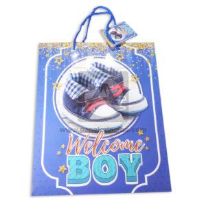 Bolsa de Regalo Estampada Para baby shawer, zapatos Welcome boy con cordón Sujetador Primavera Multicolor Grande L