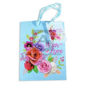 Bolsa de Regalo Flores With love con cordón Primavera Pequeña