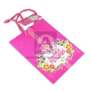 Bolsa de Regalo Estampada, Beautifull flowers con Cordón Primavera Fucsia Pequeña femenino