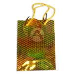 Bolsa de Regalo  Metalizada figuras holográficas con cordón  Primavera amarillo Pequeña
