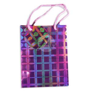 Bolsa de Regalo Metalizada figuras holográficas con cordón Primavera Fucsia Pequeña