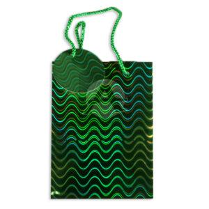 Bolsa de Regalo Metalizada figuras holográficas curvas con cordón Primavera verde Pequeña