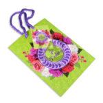 Bolsa de Regalo  Estampado de flores con cordón  Primavera verde Pequeña femenino