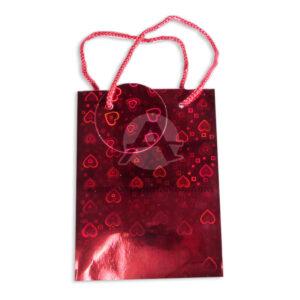 Bolsa de Regalo Metalizada figuras holográficas de corazón con cordón Primavera rojo Pequeña femenino
