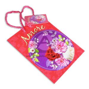 Bolsa de Regalo Estampada Amore Rosas con cordón Primavera Pequeña femenino