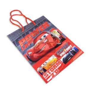 Bolsa de Regalo Estampada personajes Disney Cars Power laps Storm 2.0 Cordón Sujetador Primavera Rojo Mediana Niño