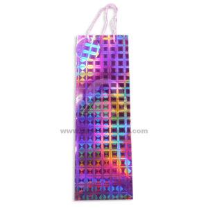 bolsa regalo Botella Metalizada Figuras holográficas geométricas con cordón sujetador