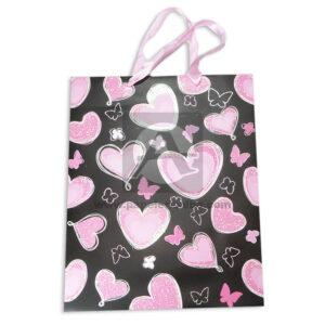 Bolsa de Regalo Premium Estampada de corazones y mariposas escarchadas con Cordón Sujetador Primavera Multicolor Grande L