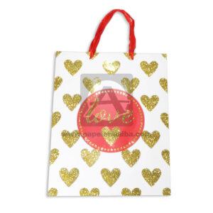 Bolsa de Regalo Premium Estampada de Corazones Escarchados Love, con Cordón Sujetador Primavera blanca dorada Grande L