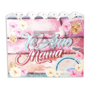 empaque Caja Decorada Ancheta Para el día de la madre, Te amo Mamá Flores con huecos sujetadores Fiesta Pastel femenino Grande