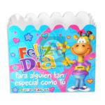 empaque Caja  Decorada Ancheta Feliz día; con huecos sujetadores  Fiesta azul aguamarina femenino Grande