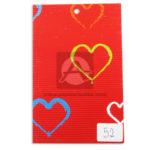 papel Cartón  Microcorrugado Estampado Corazones de colores  lamina   Nirvana Rojo medio pliego 70x50cm