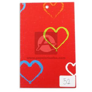 papel Cartón Microcorrugado Estampado corazones de colores lamina Nirvana Pastel medio pliego 70x50cm