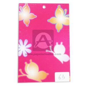 papel Cartón Microcorrugado Estampado Mariposas y Flores lamina Nirvana Pastel medio pliego 70x50cm