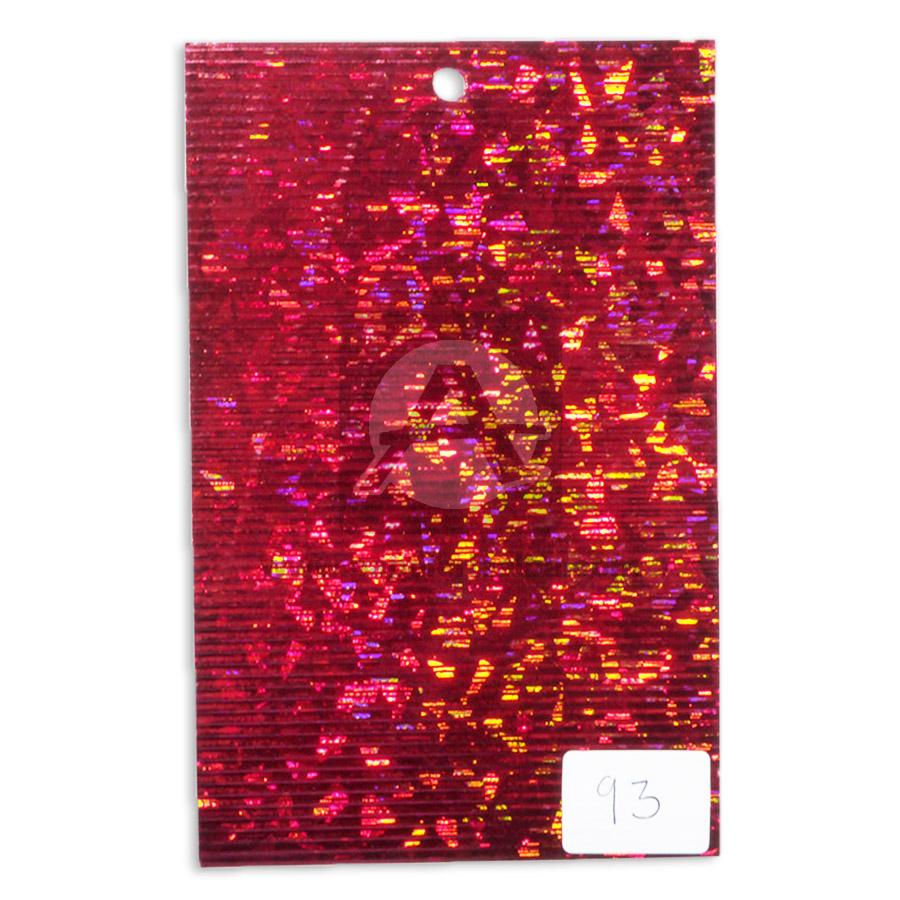 papel Cartón  Lamina Microcorrugado  Figuras Holograficas Vitral  Nirvana Metalizado Rojo medio pliego 70x50cm