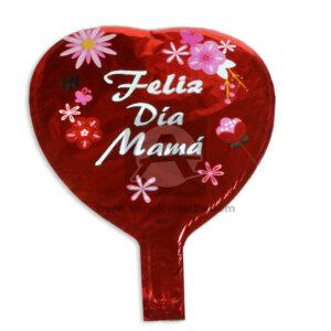 Globo Forma de Corazón Feliz día Mamá Metalizado Rojo Pequeño -5233-5