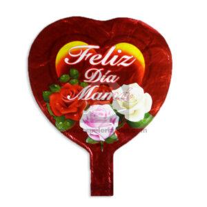 Globo Forma de Corazón Feliz día Mamá Caprichos Metalizado Rojo