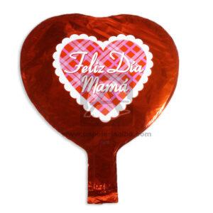 Globo Forma de Corazón Feliz día Mamá Caprichos Metalizado Rojo Pequeño