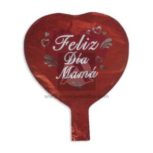 Globo Forma de Corazón Feliz día Mamá Metalizado Rojo Pequeño