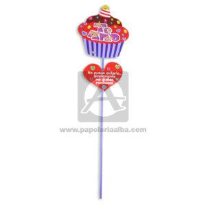 accesorio de decoración Pin Hablador forma de Cupcake con Frase de amor, Te amo Fiesta Multicolor Grande femenino Cartón