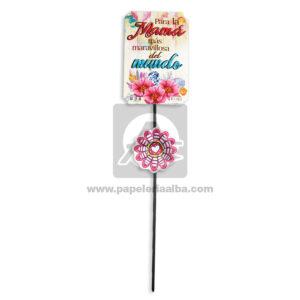 accesorio de decoración Pin Hablador con Frase para el día de la madre, Para la mama más maravillosa del Mundo Flores Fiesta Multicolor Grande femenino Cartón