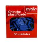 chinche  Plastificado  Triton Azul 50 Unidades Pequeño Caja