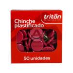 chinche  Plastificado  Triton Rojo 50 Unidades Pequeño Caja