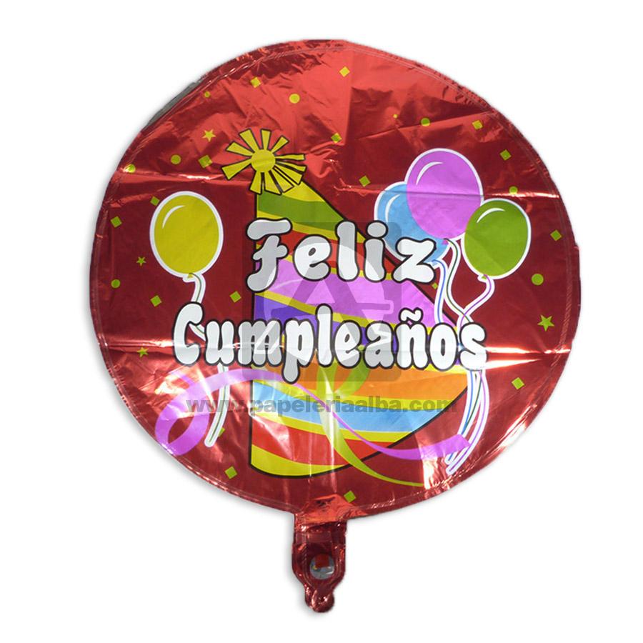Globo  Estampado Feliz Cumpleaños  Surtifantasias Metalizado Rojo Grande