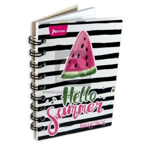 cuaderno argollado Mini/Anotaciones Hello Summer Norma cuadriculado 80 hojas femenino