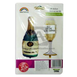Globo Botella champaña Jason Ballons Fival Mediano 1 unidad unisex