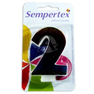 vela Numero 2 tornasol gradiante Sempertex Multicolor unisex