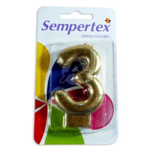 vela Numero 3 Tornasol Sempertex Dorado unisex
