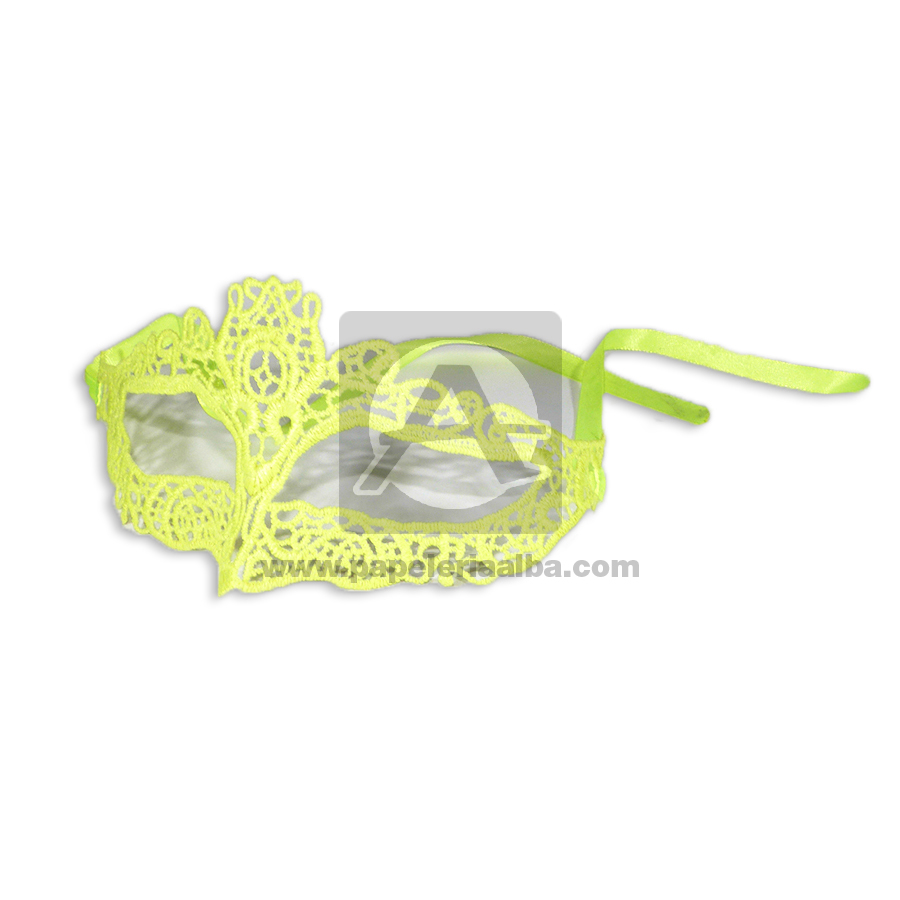 Antifaz   guipur 5214 Fival amarillo Neón Tela 1 unidad femenino