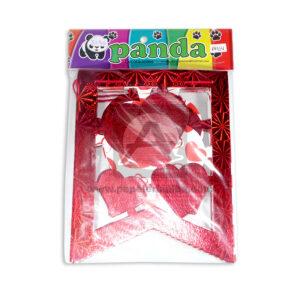 Banderín en pico Corazones Holograficos Panda Metalizado Rojo 1 unidad Mediano