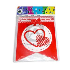 Banderín picos amor y amistad con moñito Panda Rojo 1 unidad Mediano
