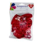 Bomba Globo  Corazón Feliz día! Impresa Sempertex R-12 12 unidades Rojo