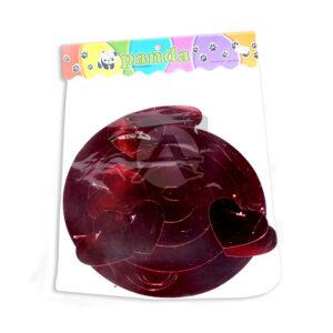 Espirales Holografico con 6 accesorios de corazon Panda Metalizado Rojo 1 unidad