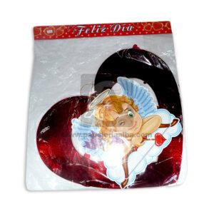 Móvil Forma de Corazón con Cupido Panda Metalizado Rojo 1 unidad Grande