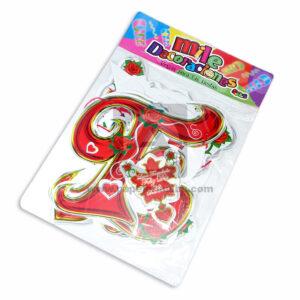 guirnalda Letras Estampada Feliz Dia Mile Decoraciones Rojo 8 unidades femenino