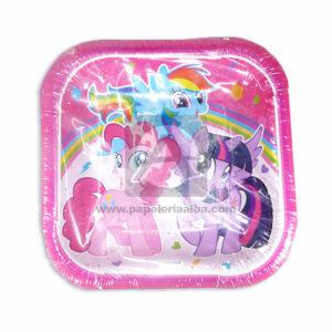 plato 7 Modelo Cuadrado Motivo My Little Pony Cuantias 12 unidades Niña Fucsia