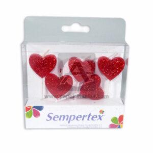 vela motivos corazones escarchados Sempertex Rojo 5 Unidades femenino