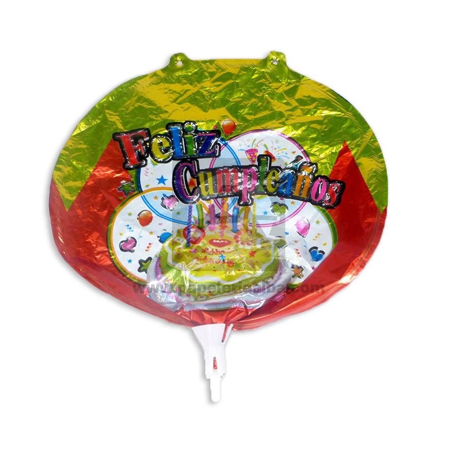 Globo  metalizado de Feliz cumpleaños Surtifantasias Naranja Rojizo Verde Claro Pequeño unisex