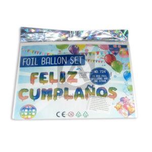 Globo metalizados letrero feliz cumpleaños degradado Fival 14 Unidades unisex Multicolor