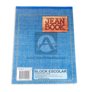 block Jean Book Escolar Norma Media Carta rayado blanco 80 hojas