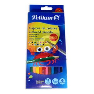 color triangulares no toxico Pelikan 13 Unidades Surtido + Tajalapiz