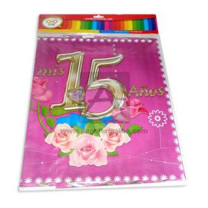 mantel impreso fiesta de 15 años N°012 C y M 1 unidad femenino Fucsia
