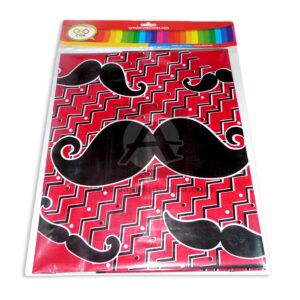 mantel impreso mostachos N°007 C y M 1 unidad Negro Rojo femenino