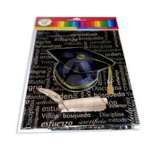 mantel impreso para Graduación con cualidades N°018 C y M 1 unidad Dorado Negro unisex