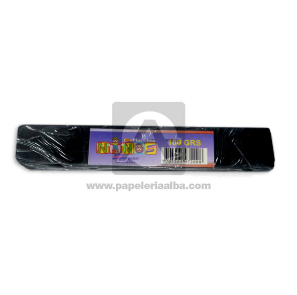 plastilina para Manualidades y Arte N°013 Nessan En barra 100grs Negro