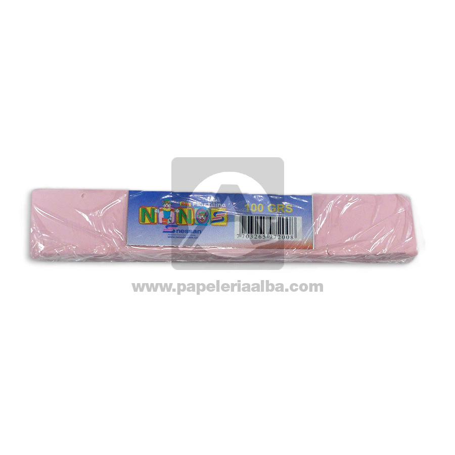 plastilina  para Manualidades y Arte N°018 Nessan En barra 100grs Rosado